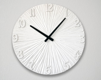 White Clock LARGE  WALL CLOCK Wedding Gift White Wall clock with numbers Modern Wall Clock  Unique Wall Clock black and white