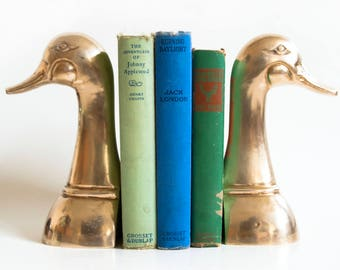 Vintage LARGE Solid Brass Duck Bookends, Tall Mallard or Goose Book Ends, Mancave Decor, Hollywood Regency