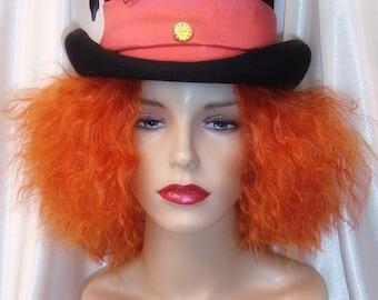 Mad Hatter Wig and Hat Set, Johnny Depp Inspired Mad Hatter Hat, Mad Hatter Wig and Top Hat 2pc Set