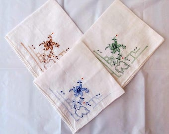 Vintage HANDKERCHIEFS _ Lot of 3 Embroidered HANKIES _ Early to mid 50s _ Colorful Flowers _ Very Good Condition VGC