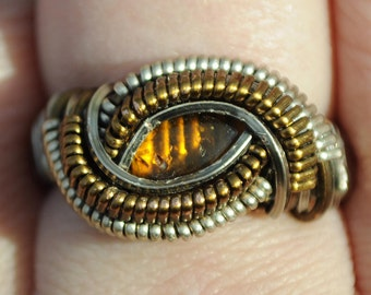 Size 8.75 Genuine Amber Wire Wrapped Ring in Silver Plated Copper