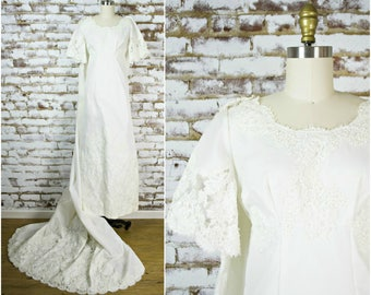 Vintage 60s beaded lace wedding dress . 1960s white nylon taffeta retro wedding gown with off shoulders long train . Myrtle Luhn . small
