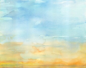 Sunrise (Blue) Giclee Print of Original Watercolor Painting, Landscape Art Print, Home Decor Print, Art Lover Gift, Wall Art