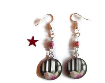 Cabochon image earrings / piano keys, flower rose/gift / birthday / mothers/thanks/Christmas party