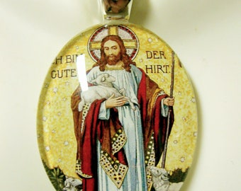 Good Shepherd glass pendant with chain - GP18-119