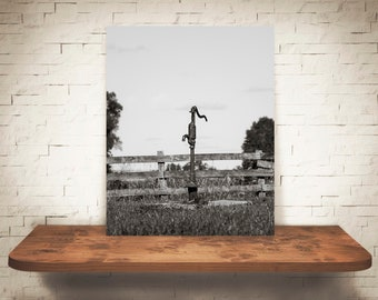 Water Pump Photograph - Fence - Fine Art Print - Black White Photography - Wall Art - Farm Pictures - Farmhouse Decor - Country - Rustic