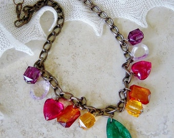 Multi Color Acrylic Bead Necklace, Antique Brass Beaded Chain Necklace, Disco, Dangle Bead 70's Necklace, Acrylic Bead Necklace