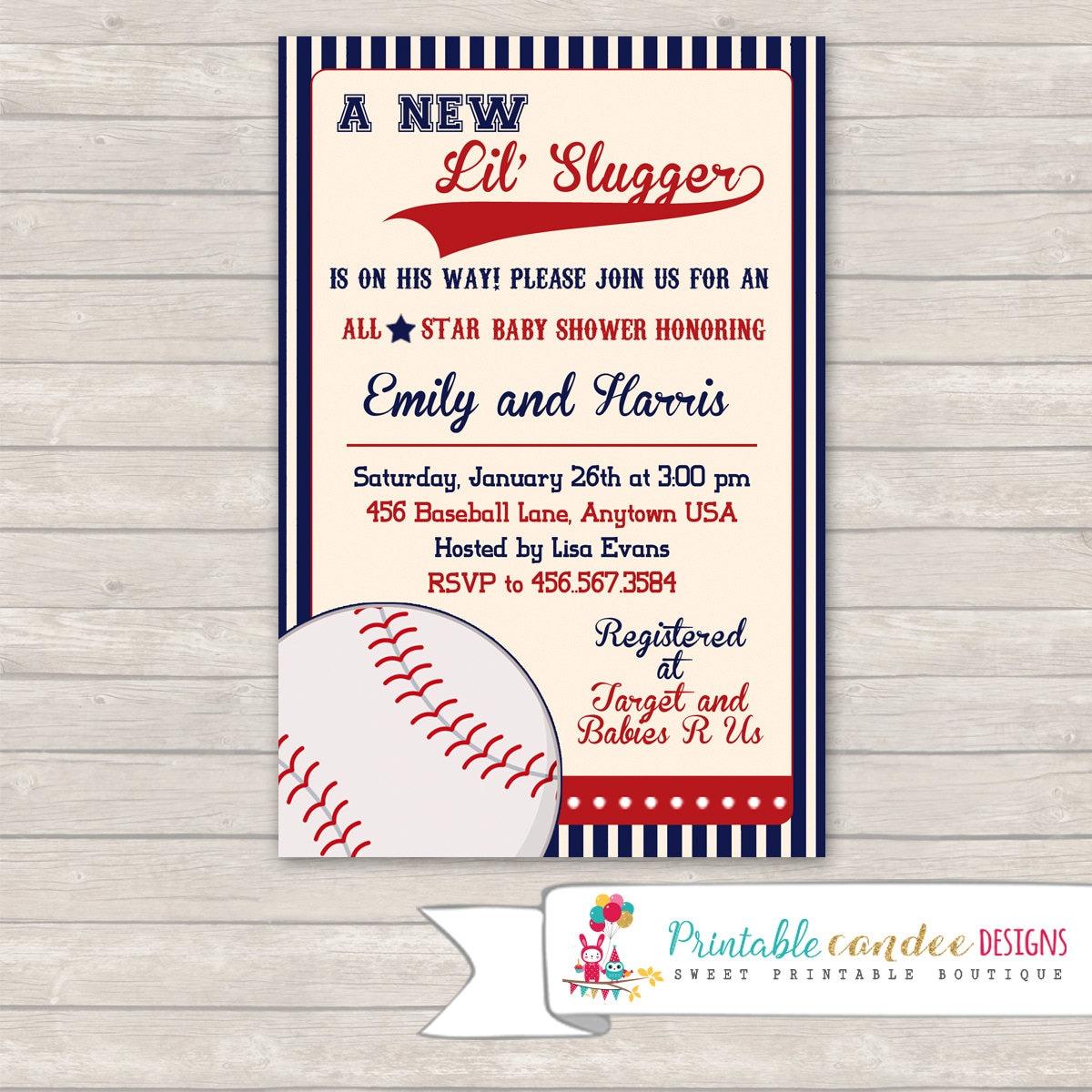 Vintage Baseball Baby Shower Invitation Baseball Invitation
