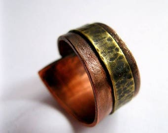 Unique Handmade Brass and Copper Ring Boho. Handmade Rustic Ring. Statement Ring