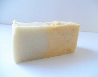 Helichrysumand papaya soap. Homemade soap. Vegan soap. Cold Process soap. Organic soap. Handmade soap. Coconut Oil. Soap bar.