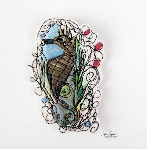 Collectible Textile Art Pin - Colorful Seahors Art Brooche - Customisation - Arty Closing System