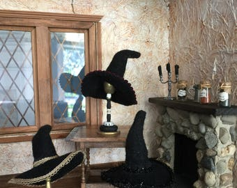 A One Inch Scale Witches Hat for Your Haunted Dollhouse, Halloween Scene, Displaying on a Stand or on a Witchy Doll