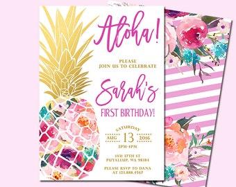 Pineapple Birthday Invitation, Tropical Aloha Birthday Invitation, Luau Invitation, Hawaiian Invitation, Party Like a Pineapple Invitation