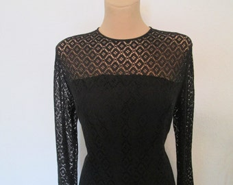 Lace Dress Vintage / Black / Size EUR40 / 42 / UK12 / 14 / Medium