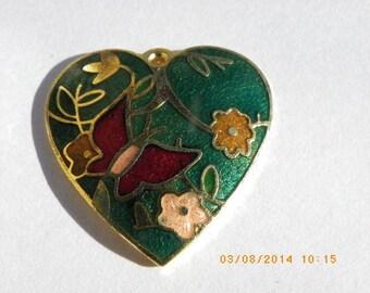 heart enamel 25 mm x 25 mm with green flowers
