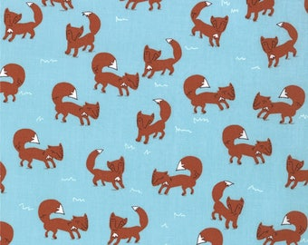 Aneela Hoey Novelty Fabric, A Walk in the Woods by Aneela Hoey for Moda Fabrics, 18521-11 Big Bad Wolf in Blue Bell