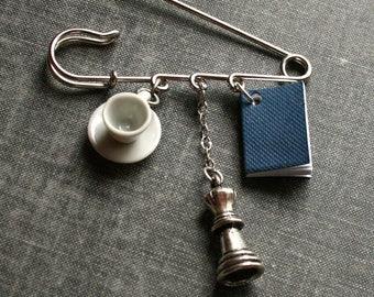 Book and Tea Brooch Chess Nerdy Kilt Pin Teacup