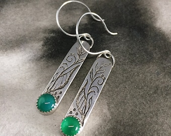 Vine and branches green chalcedony earrings, nature inspired earrings, gardeners gifts, green birthstone, hand drawn design, one of a kind