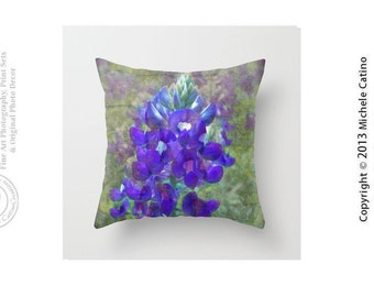 Bluebonnet Flower Purple and Green Texas Flowers Bluebonnet Bloom Flowers Nature Throw Pillow and Cover