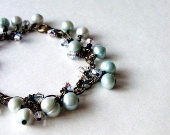 Pearl Cluster Bracelet Mint Green Jewelry Crystal Charm Seafoam Sea Foam Mermaid Bride Bridal Beach Wedding Accessories Womens Gift For Her