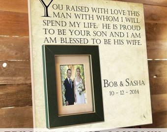 Parents of the Groom Gift, In-Laws Gift, Parents Thank You Gift, You Raised With Love, In-Laws Gift, Father of the Bride Frame 16 x 16