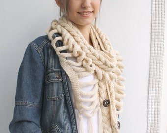Cream  Wool  Scarf with Brown Button Valentine's day gift For Mom For Women Wedding Shawl