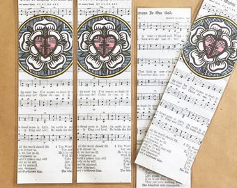 Luther Rose|Lutheran bookmark|A Mighty Fortress|Reformation|Luther's Rose|Confirmation Gift|Pastor Gift|Bible|Martin Luther|Luther Seal|Hymn