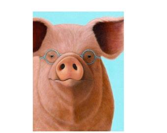 Pig Magnet - Funny Pig Magnet - Pig with Glasses - Funny Animal Magnet - Proceeds Benefits Animal Charity