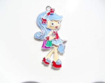 55mm Little Blue Shopping Girl Rhinestone Pendant, P61