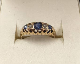 Vintage 60s 18ct Yellow Gold Sapphire and Diamond Ring Size N