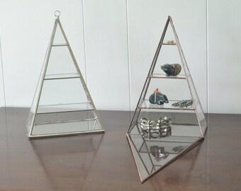 Polaris Pyramid Display Box - glass pyramid - jewelry box - hinged - silver or copper - eco friendly