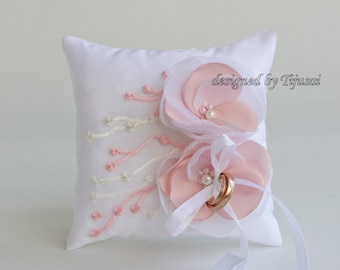 Wedding ring bearer pillow with pink/white flowers and embroidering-ring bearer, ring cushion, wedding pillow, ready to ship
