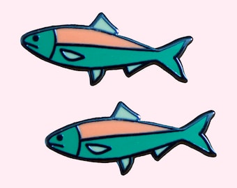 Fish Lapel Pin - Set of 2 - Enamel Pin