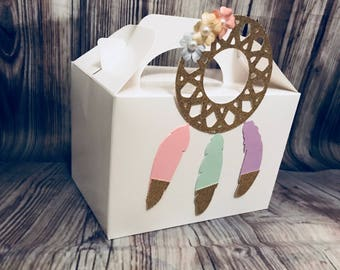 Boho party, dream catcher party boxes, boho party favour, boho baby shower.