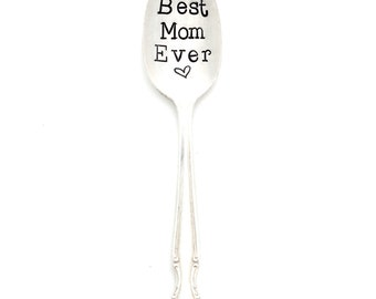 Best MOM Ever Spoon. The ORIGINAL Hand Stamped Vintage Coffee Spoons ™ by Sycamore Hill.  Tea Lover. Personalized, Custom Teaspoon,  Spoons