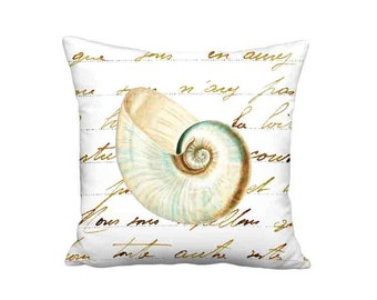18x18 Inch READY TO SHIP - Linen Cotton Sea Shell No. 5 Pillow Cover - Beach House Pillow - Beach Cottage Cushion Cover - Seashore Decor