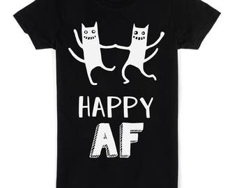 Happy AF Crazy Dancing Cats Design Women's T-shirt
