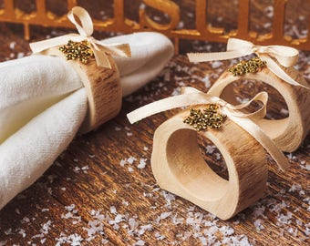 Christmas Napkin Rings with gold snowflakes Rustic table decor Wood Napkin Christmas Mantle Decorations Xmas party Birch napkin rings