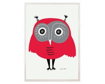 OWL decor 3 owl lovers- art print by nicemiceforyou