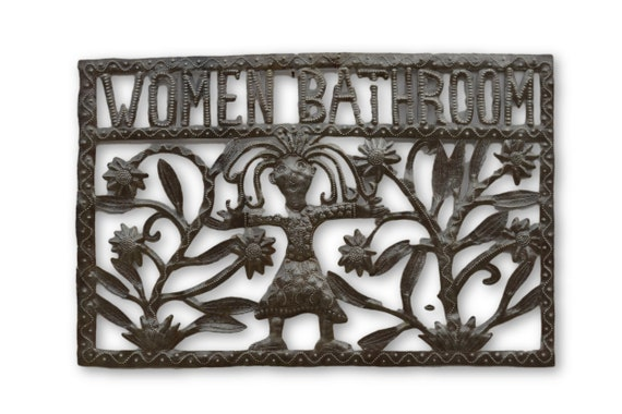 Women & Men Bathroom Signs,  Reclaimed Quality Metal Piece, One-of-a-Kind 12 x 18 (SET OF 2)