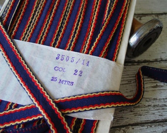 Antique or vintage old retro looking navy blue trim with red and yellow accent, one yard