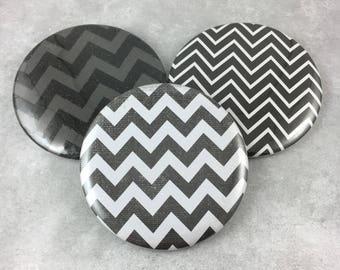 3 pcs, Chevron Pocket Mirrors, Black Gray White, 2.25 Inch Size, Hand Mirror, Cosmetic, Beauty, Favor, Birthday, Gift, Item #96