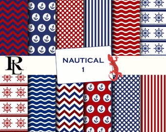 Nautical Digital Paper - Digital Background - Paper background - blue red digital paper- nautical paper scrapbooking - red blue nautical