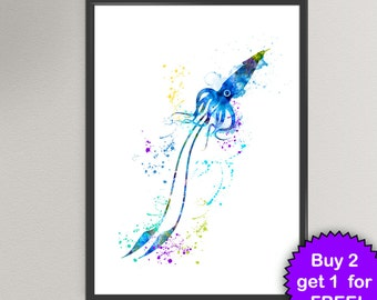 SQUID Watercolor Art Print Sea Life Ink Painting Underwater illustrations Art Print Wall Art Poster Giclée Wall Decor Art Home