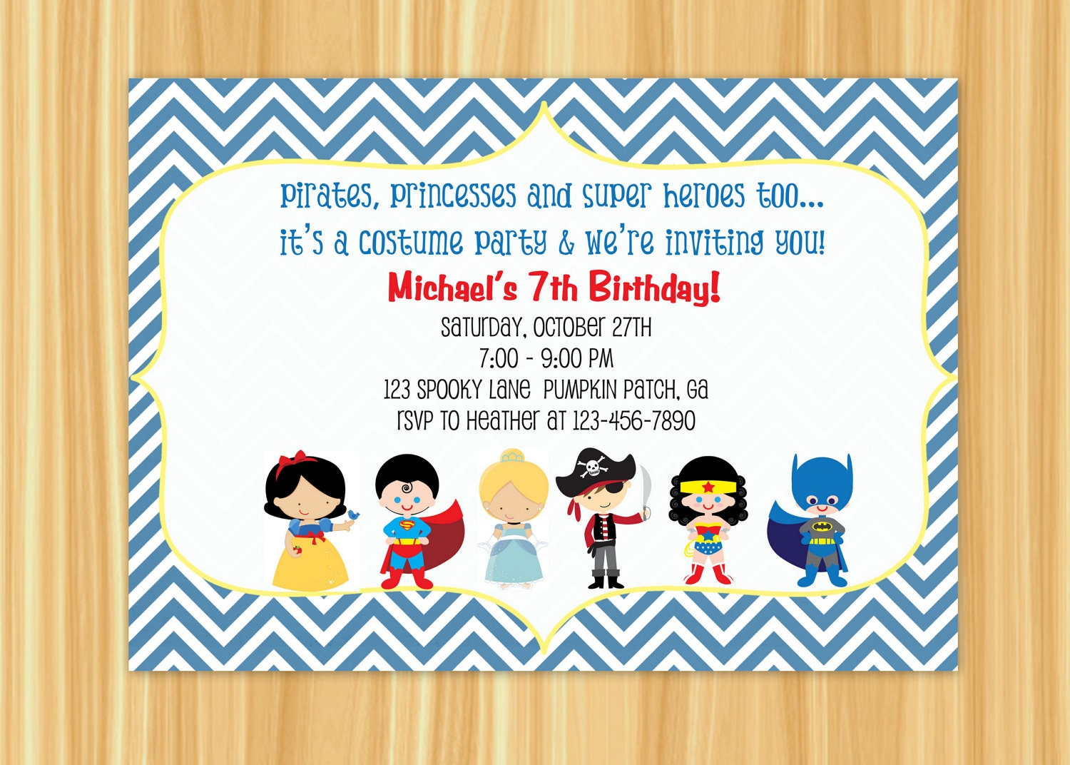 Kids Costume Party Birthday Invitation Blue or Orange Chevron