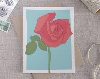 Illustrated Rose Blank Note Card / Floral Stationary / Gift for Gardener / Modern Flower Card / Any Occasion Note Card