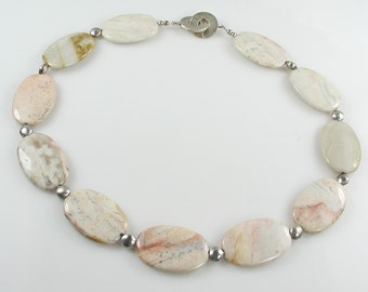 Mystic Mountain Jasper and Silver Choker Necklace