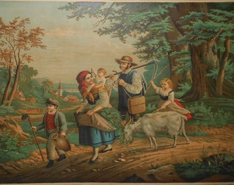 Vintage mountain family color chromolithograph children scenery ca.1880