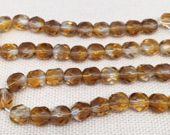 50 Golden Topaz Czech Glass Beads Faceted 6mm