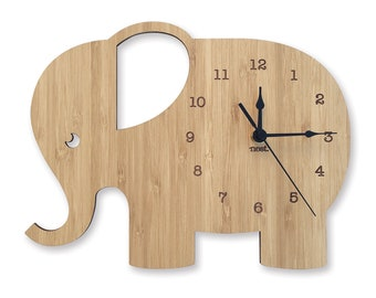 Elephant Clock | Wall Clock  | Laser cut Nursery & Kids Decor